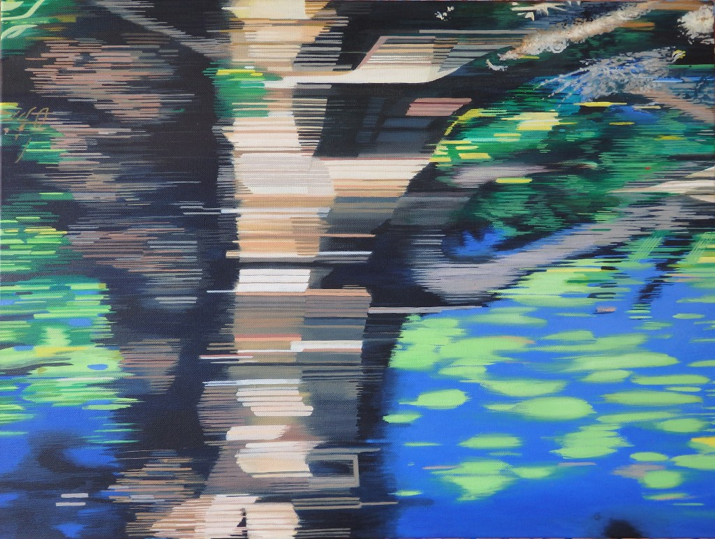 Whizzing past waterlilies, Fogg Dam, NT 2015 oil on canvas 612 x 461 x 39mm